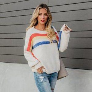 VICI Rain Dance Striped Shimmer Sweater Cream - S